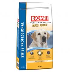 BiOMill Swiss Professional Maxi Adult Chicken 12kg + ciastka + pojemnik