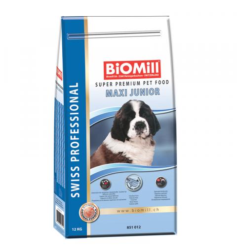 BiOMill Swiss Professional Maxi Junior Fish & Chicken 12kg + ciastka + pojemnik