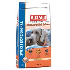 BiOMill Swiss Professional Maxi Sensitive Salmon 12kg + ciastka + pojemnik
