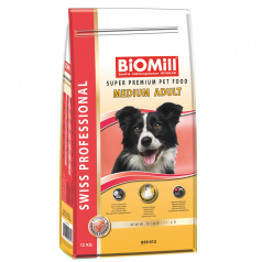 Zestaw BiOMill Swiss Professional Medium Adult Chicken + ciastka + pojemnik