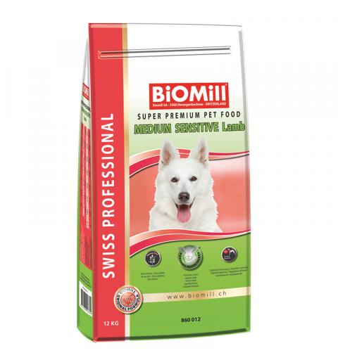 BiOMill Swiss Professional Medium Sensitive Lamb 12kg + ciastka + pojemnik