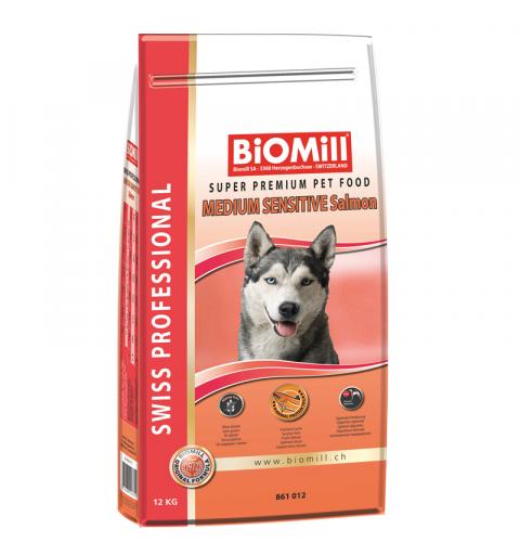 BiOMill Swiss Professional Medium Sensitive Salmon 12kg + ciastka + pojemnik