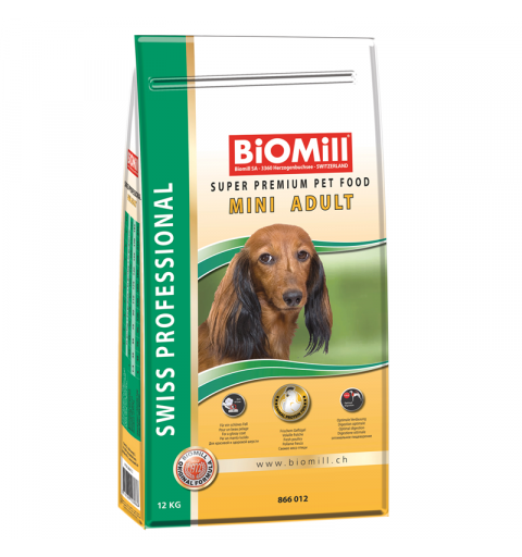 BiOMill Swiss Professional Mini Adult Chicken 12kg + ciastka + pojemnik