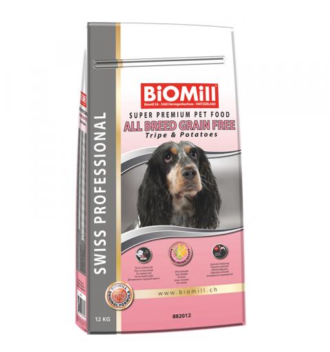 BiOMill Swiss Professional Grain Free Tripe 12kg + ciastka + pojemnik