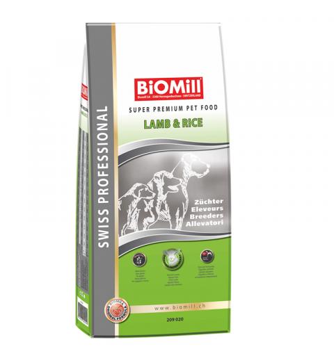 BiOMill Swiss Professional All Breed Lamb & Rice 20kg + ciastka + pojemnik