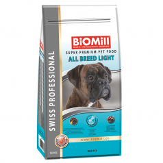 BiOMill Swiss Professional All Breed Light 12kg + ciastka + pojemnik