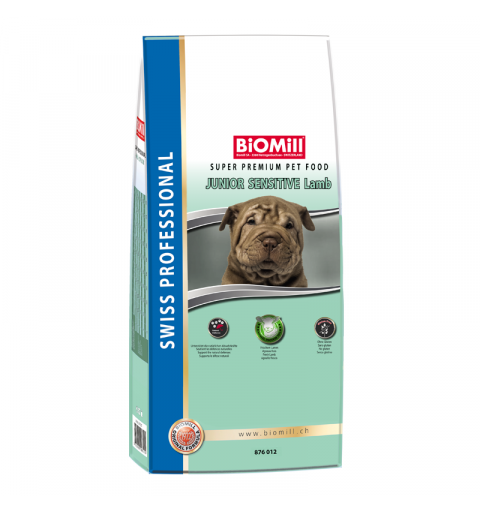 BiOMill Swiss Professional Junior Sensitive Lamb 12kg + ciastka + pojemnik
