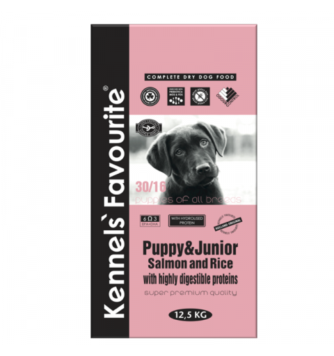 Kennels' Favourite Puppy Salmon & Rice 12,5kg + Yam-Yam PARTY MIX